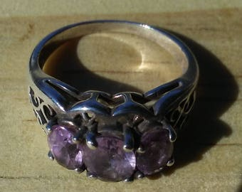 Amethyst Sterling Silver Ring – Trio in Filigree Setting