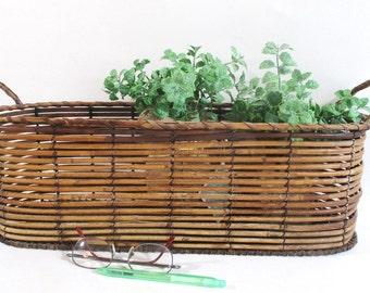 Reed and Wire Basket, Vintage Organizer Planter Tropical Beach Cottage Deck Porch Decor