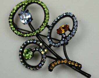 ART Flower Pin with Rhinestones set in Japanned Metal