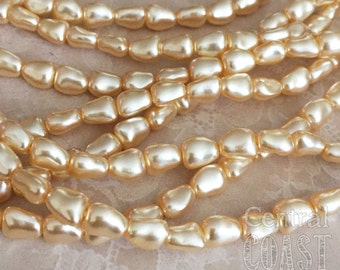 7mm x 6mm Antique Cream Baroque Czech Glass Pinched Nugget Pearl Beads (20) Bohemian Shabby Vintage Style - Central Coast Charms