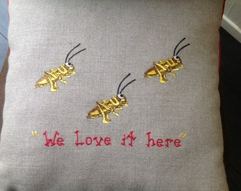 Crickets Embroidered Burlap Pillow Cover, Crickets Decor