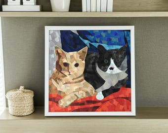 Two Cats Collage Print