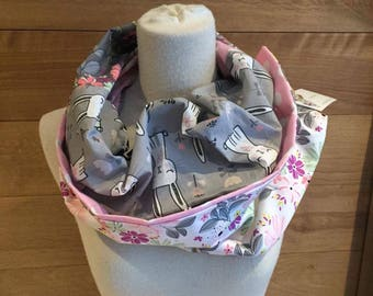 Scarf infinity patchwork rabbits with flowers