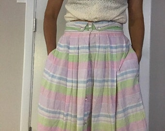 70s Pastel Striped Cotton High Waist Skirt