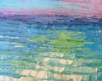 """8x8x1.5"""" Abstract Seascape Oil Painting, Tropical Colors, Textured, Turquoise, Green, No Frame Required, Free Shipping in US"""