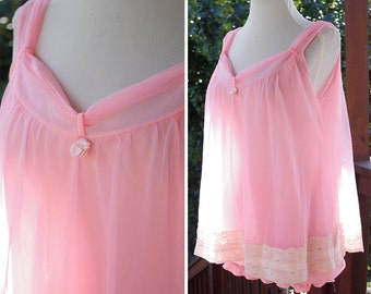 POWDER Puff 1950's 60's Vintage Sexy Sheer Baby PINK Nylon Lace Peignoir Slip Gown Set with Panties // size Small