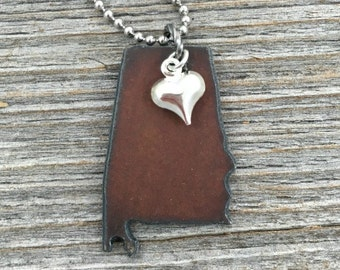 ALABAMA Necklace SMALL, Alabama Jewelry, Gift for Woman, Rustic Metal State Outline Shape Tiny Silver Heart