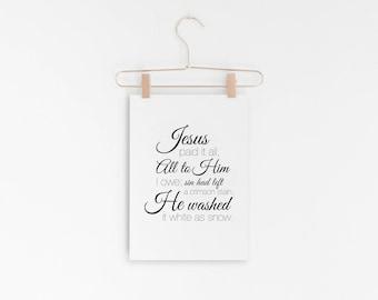 "Jesus Paid It All - Hymn Design - Lyric Art Print - 5X7"" Digital Print - Printable Art - INSTANT DOWNLOAD"