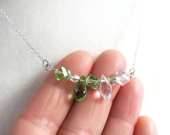 Mothers Day Gift St Patricks Day Necklace Mixed Crystal Bar Necklace Sterling Silver Chain Irish Necklace Green Crystal Necklace Garden Gift