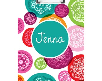 Multicolored Funky Circles Personalized Clipboard- FREE SHIPPING!