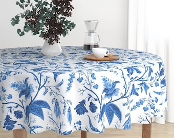 Round Tablecloth - Chinese Garden in Cobalt by Willowlanetextiles - Oriental Malay Cotton Sateen Round Tablecloth by Roostery w/ Spoonflower