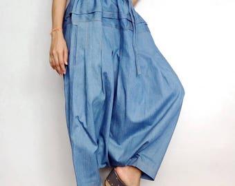 harem pants, indigo baggy pants, culotte pants, baggy cotton pants, lagenlook clothing, denim culottes, capris pants, blue stonewashed pants