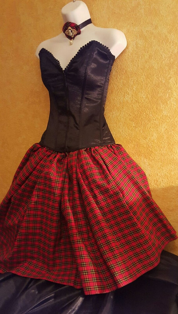 Sweetheart Formal Tutu fabrics Drop and Tartan more Party Corset Plaid Club colors amp; Wallace Bridal Red Dress Wedding Waist wUtqXX