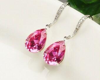 Hot Pink Earrings Silver Pink Crystal Teardrop Earrings Swarovski Bridal Earrings Bridesmaid Jewelry Teardrop Earrings Bridesmaid Earrings