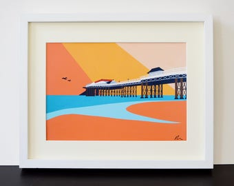 Cromer Pier themed Fine Art Print - English Seaside - North Norfolk - Travel Poster - by Rebecca Pymar