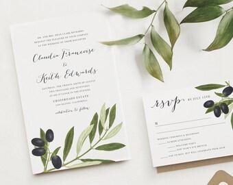 OLIVE BRANCH Greenery Wedding Invitation | Botanical Leaf Envelope Liner | Rustic Kraft Envelopes | Greek Destination Wedding Invitations