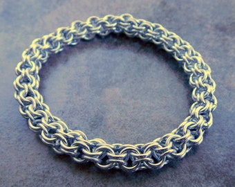 Chunky Chainmail Bracelet - Anodized Bright Aluminum Chainmaille Bracelet