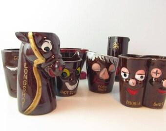 Novelty Shot Glass Pottery Bar Set Barware Decor Japan with Box - Set of 8