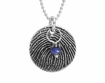 Fingerprint Necklace Round with Birthstone
