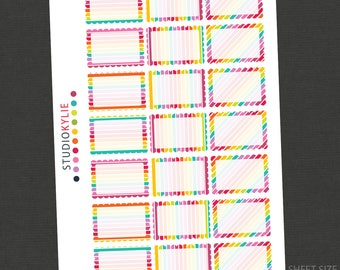 Rainbow Collection Planner Stickers  - Scallop Half Boxes  - To suit Erin Condren Vertical and other Planners - Repositionable Vinyl