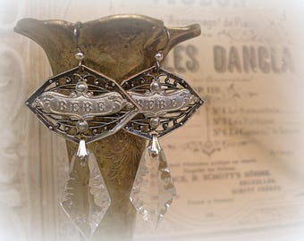 you've come a long way vintage assemblage earrings antique silver plaques circa 1960s repro bebe tags vintage french crystals limited ed