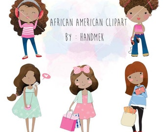 African American Clip art Black Girl clipart set , instant download PNG file - 300 dpi