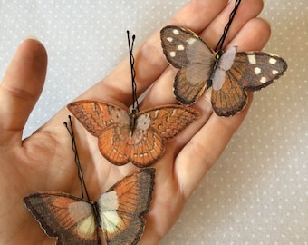 Handmade Butterfly Hair Bobby Pins in Rust and Brown Cotton and Silk Organza Fabric - 3 pieces