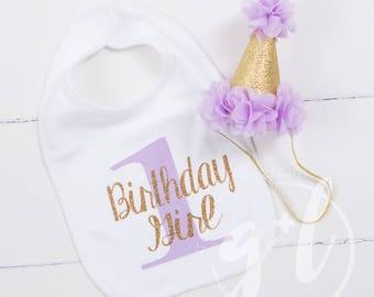 First Birthday Bib & Party Hat, Purple and Gold Princess Hat, First Birthday Set