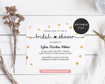 INSTANT DOWNLOAD Bridal Shower Invitation, Bridal Invite, Printable, DIY,Gold,White,Dots,Confetti,Faux Gold,Editable, Invitation Template