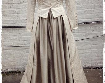 Ivory Damask Long, Fitted Edwardian Wedding Coat