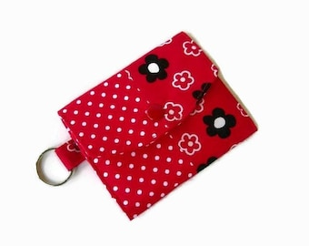 Red Trifold Mini Wallet with Key Ring - Pocket Credit Card Holder - Optional Key Fob - ID Holder - Small Travel Wallet