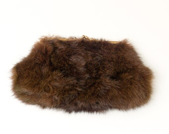 Vintage Dark Brown Rabbit Fur Ingber Clutch Bag Purse