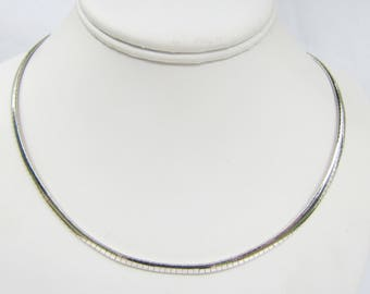 "Sterling Silver 4mm Omega Chain Necklace 18""   - Great for Pendants - 2295"