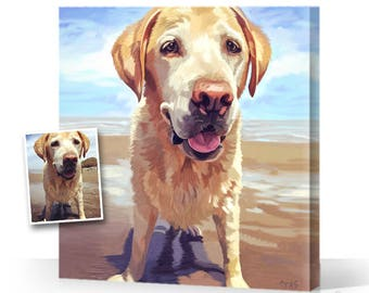 CUSTOM DOG Portrait from your Photo, Digital Art or Oil Painting on Canvas ( Mother's Day Present Gift ) Custom Pet Portraits, Cats