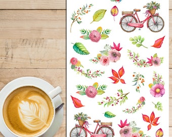 Autumn Leaves Bicycles Planner Stickers   Mystery Grab Bag May 2016   Watercolour Stickers   Floral Stickers   Bicycle Stickers (MGB-MAY16)