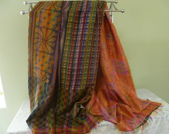 Vintage silk Kantha, FREE SHIPPING, wrap, large scarf, reversible, orange, multi-colored check  table runner, home decor, furniture cover