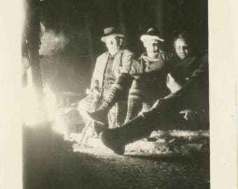 vintage photo 1927 Camping Night Time Around Fire 2 photo lot