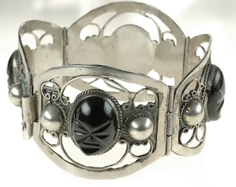 VINTAGE TAXCO Sterling Silver Panel Bracelet with Carved Black Onyx tribal faces 60s cuff bracelet