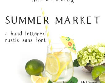 Summer Market - Sans Serif Font - Hand-written font - Hand-lettered font - Rustic Font - Farmhouse Chic - Shabby Chic Font - Wedding Font