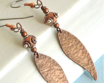 Hammered Copper Leaf Earrings - Mixed Metal, Silver