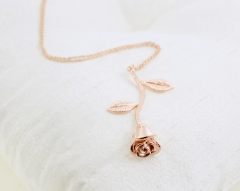 Rose gold Rose Stem Pendent Necklace, Bridesmaid Gift, Birthday Gift, Rose  Necklace ,Layered Necklace