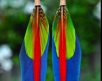 Long Feather Earrings Cruelty Free Macaw Pheasant Turquoise Gemstone Earrings Boho Earrings Statement Jewelry