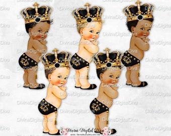 Black & Gold Little Prince Studded Tassel Belt Ornate Pearl Fleur de Lis Crown | Vintage Baby Boy | Clipart Instant Download