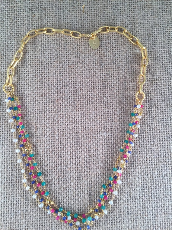 """Rosary Bead Type Necklace combined with 22K Gold Plated Link Chain, Color Gemstones, 17"""" + 2"""" extention links"""
