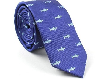 Blue Shark Skinny Tie | wedding tie | skinny tie | blue tie | wedding ideas | ideas | groom | party tie