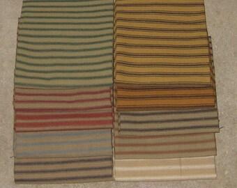 Dunroven House 10 Colors Primitive Homespun Ticking Fabric Fat Quarter Bundle