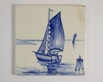 Antique 1900s T&R Boote blue and white tubelined pottery sailing boat tile