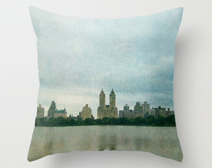 Central Park Pastel Sofa Pillow, Blue Green Accent Pillow, NYC Throw Pillow Cover, 18x18 24x24 Decorative Pillow Cushion