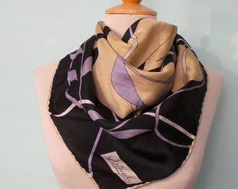 70s Ostinelli Designer Silk Scarf,Large Navy Purple & Tan Square Art Nouveau Style Scarf,Vintage Leaf and Vine Print Italian Silk Head Scarf
