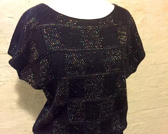 Vintage 80s Sweater - Black with Rainbow Foil Threading - Brand: Keneth too!